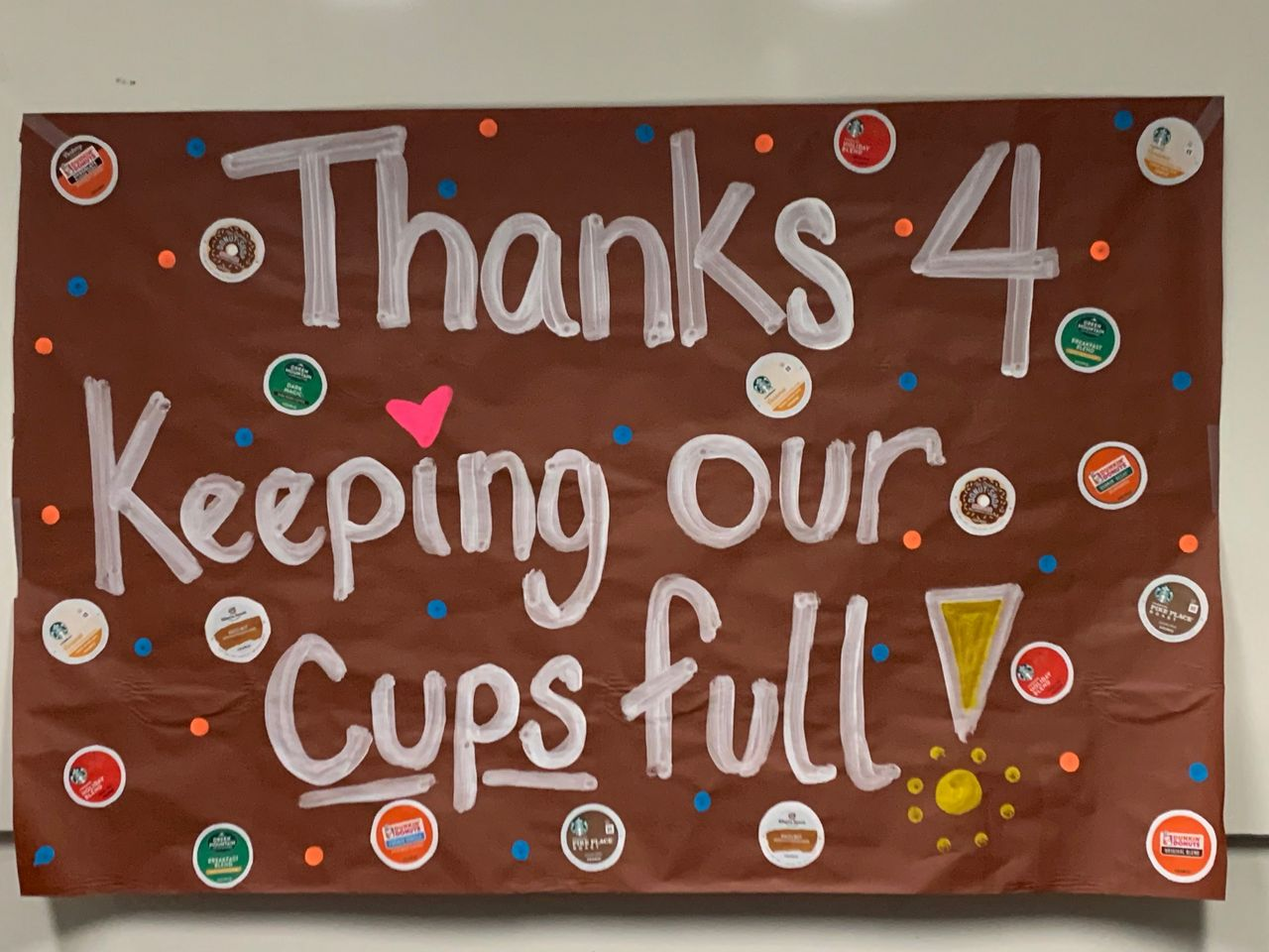 Thanks 4 Keeping Our Cups Full sign.