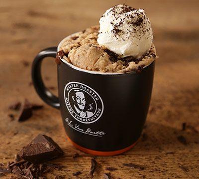 Chocolate, almond and coffee cake in a mug