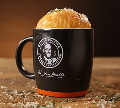 Butternut squash, Gruyère and coffee soufflé in a mug