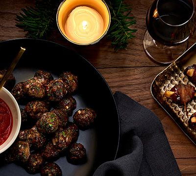 LAMB MEATBALLS WITH ROMESCO SAUCE