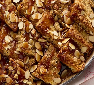 Irish Bread Pudding with Coffee, Almonds and Whisky Sauce